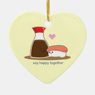 幸せな大豆一緒に 陶器製ハート型オーナメント