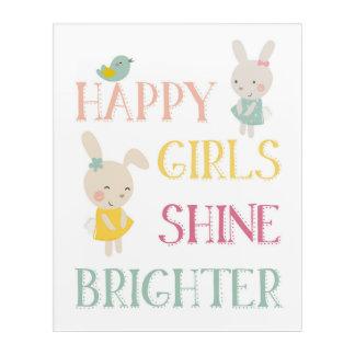 幸せな女の子はより明るいアクリルの壁の芸術を照らします アクリルウォールアート