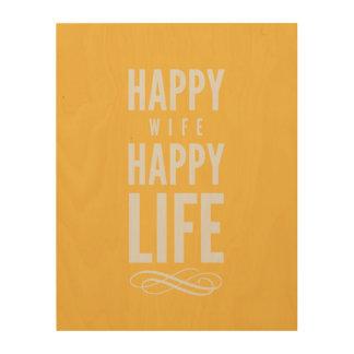 幸せな妻の印刷の引用文の黄色 ウッドウォールアート
