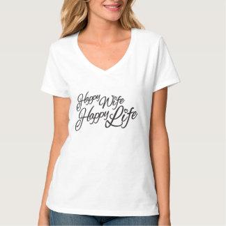 幸せな妻の幸せな生命印刷のスローガンのTシャツ Tシャツ