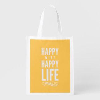 幸せな妻の幸せな生命黄色 エコバッグ