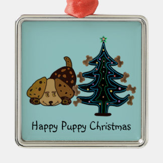 幸せな子犬のクリスマス メタルオーナメント
