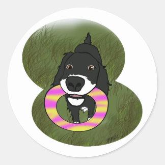 幸せな子犬 ラウンドシール