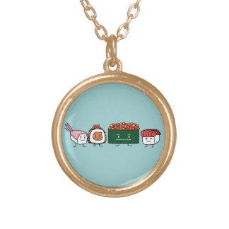 幸せな寿司の兄弟の米の日本のなエビのサケ ゴールドプレートネックレス