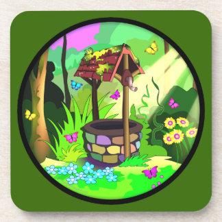 幸せな希望の健康な魔法の森林円の緑 コースター
