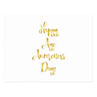 幸せな年齢の認識度日の金ゴールドのおもしろいな誕生日 ポストカード