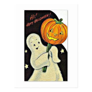 幸せな幽霊およびカボチャヴィンテージハロウィン ポストカード