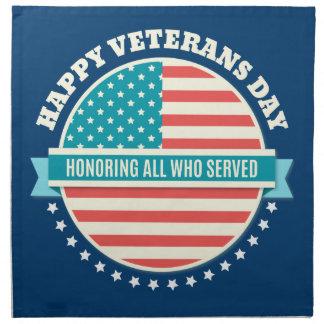 幸せな復員軍人の日米国の旗の濃紺の背景 ナプキンクロス