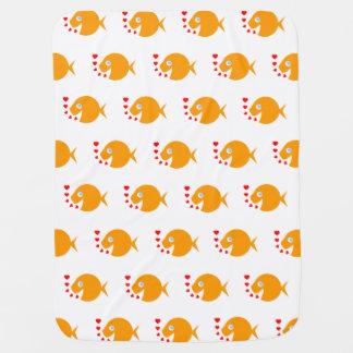 幸せな微笑の金魚のベビーブランケット ベビー ブランケット