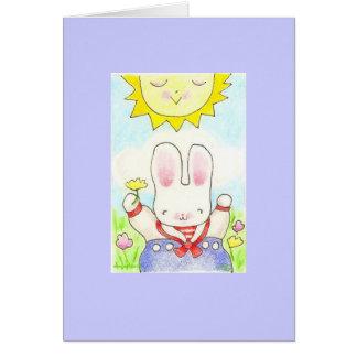 幸せな思考の男の子のバニーカード カード