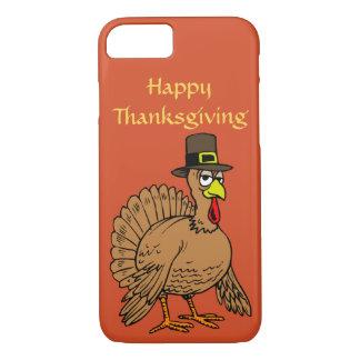 幸せな感謝祭のかわいいトルコの巡礼者の漫画 iPhone 8/7ケース