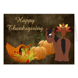幸せな感謝祭のかわいいブラウン馬およびトルコ カード