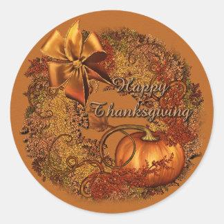 幸せな感謝祭のカボチャリースのステッカー ラウンドシール
