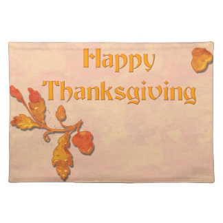 幸せな感謝祭のドングリ及び葉 ランチョンマット