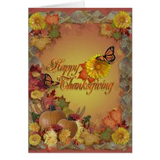 幸せな感謝祭の蝶および花 カード