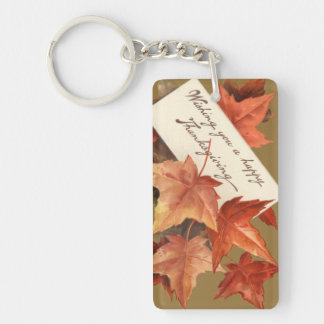 幸せな感謝祭を望む紅葉 キーホルダー