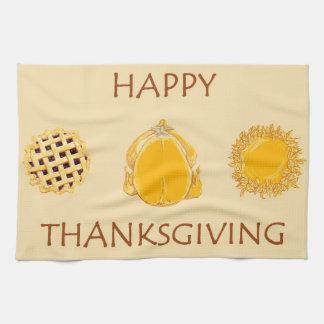 幸せな感謝祭パイトルコのベージュ台所タオル キッチンタオル