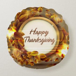 幸せな感謝祭3つの円形の枕 ラウンドクッション