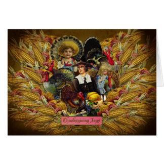 幸せな感謝祭! ヴィンテージのスタイルの挨拶状 カード