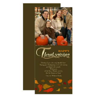 幸せな感謝祭。 感謝祭の写真カード 10.2 X 23.5 インビテーションカード
