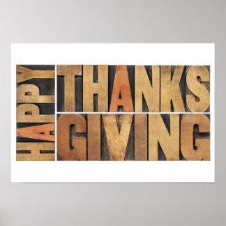 幸せな感謝祭-挨拶か願い ポスター