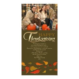 幸せな感謝祭。 落ちる葉の写真カード カード