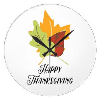 幸せな感謝祭-葉-円形の柱時計 ラージ壁時計