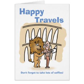 幸せな旅行漫画のライオンのselfies カード
