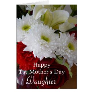 幸せな最初母の日娘かかわいらしい花柄 カード
