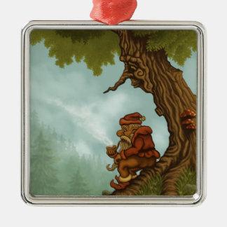 幸せな木の格言のファンタジー シルバーカラー正方形オーナメント