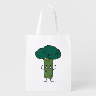 幸せな木の頭部の緑の野菜を曲げるブロッコリー エコバッグ