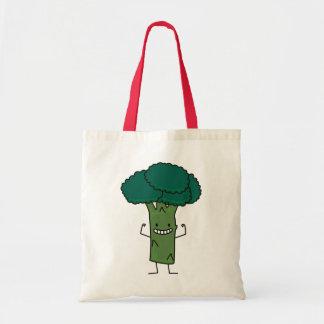 幸せな木の頭部の緑の野菜を曲げるブロッコリー トートバッグ