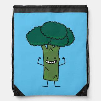 幸せな木の頭部の緑の野菜を曲げるブロッコリー ナップサック