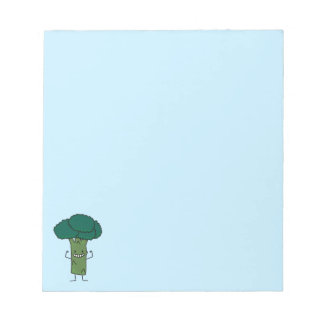 幸せな木の頭部の緑の野菜を曲げるブロッコリー ノートパッド