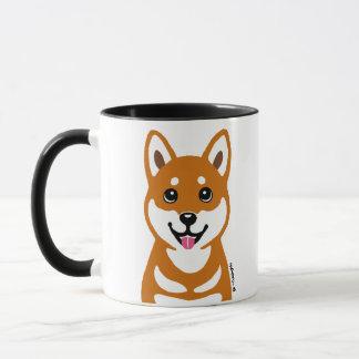 幸せな柴犬犬の漫画のマグ