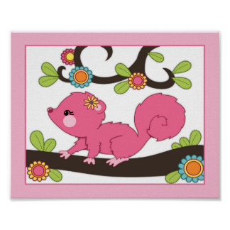 幸せな森林-ピンクのリスNurseyかベビーの芸術のプリント ポスター