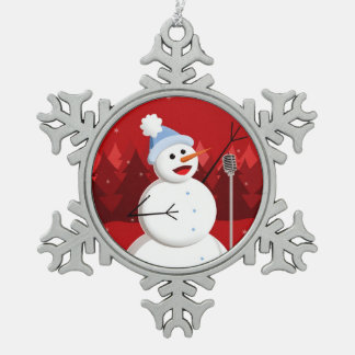 幸せな歌う雪だるまのクリスマス スノーフレークピューターオーナメント