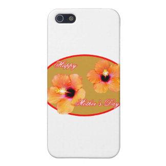 幸せな母の日のハイビスカスの金ゴールドの赤い楕円形ミューズ iPhone 5 CASE