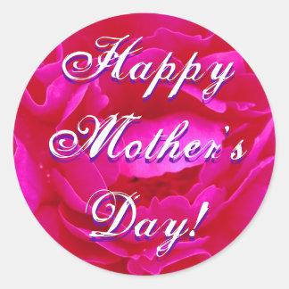 幸せな母の日のピンクのバラ 丸形シールステッカー