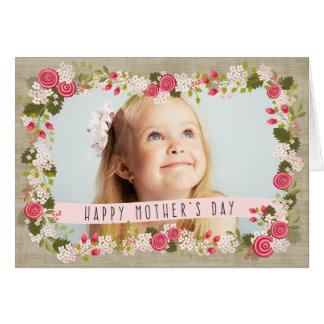 幸せな母の日の写真の花のバーラップカード グリーティングカード