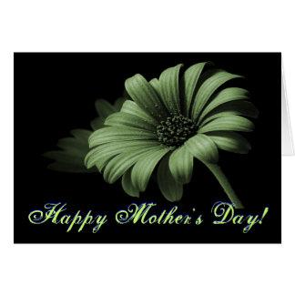 幸せな母の日の挨りだらけの緑のデイジー グリーティングカード