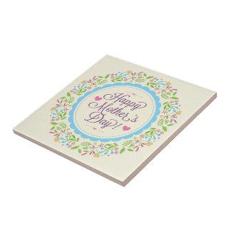 幸せな母の日の文字及びカラフルの花のリース タイル