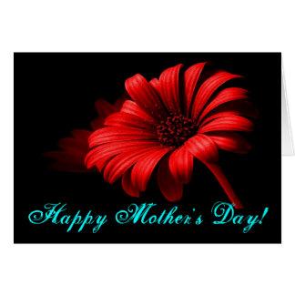幸せな母の日の明るく赤いデイジー グリーティングカード