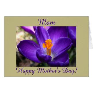 幸せな母の日の紫色のクロッカス カード