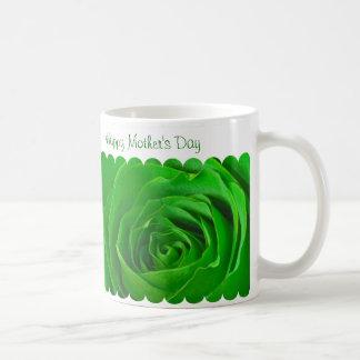 幸せな母の日の緑バラの中心 コーヒーマグカップ