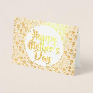 幸せな母の日の花の金ゴールドホイルの挨拶状 箔カード