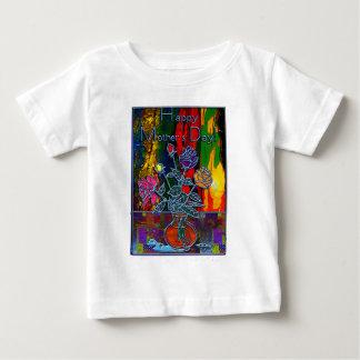 幸せな母の日の花柄の抽象芸術 ベビーTシャツ
