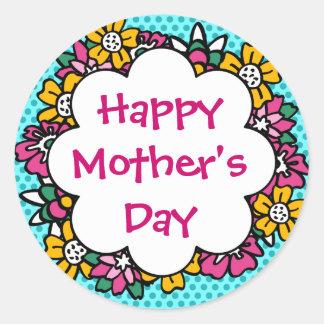 幸せな母の日の花 ラウンドシール