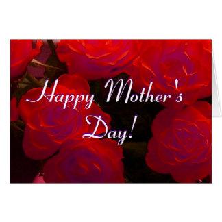 幸せな母の日の赤いバラ グリーティングカード