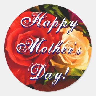 幸せな母の日の赤い黄色バラ 丸形シール・ステッカー
